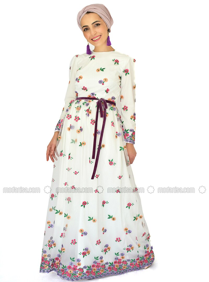 Lilac - Salmon - Floral - Crew neck - Fully Lined - Dress