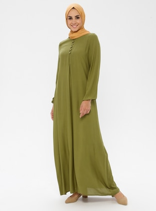 Green - Crew neck - Unlined - Viscose - Dress