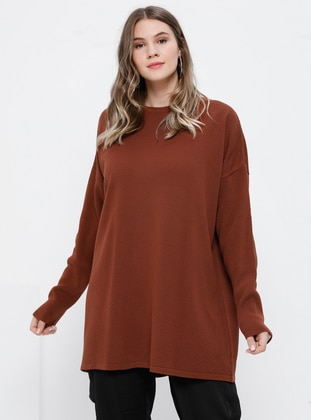 Cinnamon - Crew neck - Acrylic -  - Plus Size Tunic