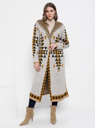 Khaki - Mustard - Multi - Acrylic -  - Plus Size Cardigan