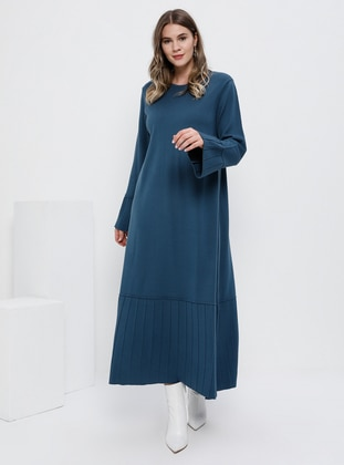 Indigo - Unlined - Crew neck - Acrylic -  - Plus Size Dress