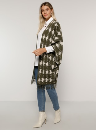 Khaki - Multi - Acrylic -  - Plus Size Cardigan - Alia
