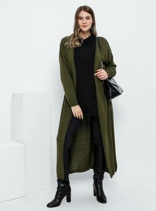 Khaki - Acrylic -  - Plus Size Cardigan