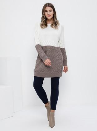White - Ecru - Mink - Crew neck - Acrylic -  - Plus Size Tunic
