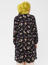 Dusty Rose - Navy Blue - Floral - Crew neck - Tunic