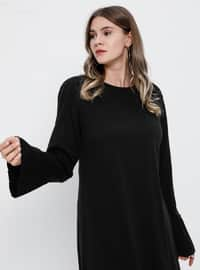 Black - Unlined - Crew neck - Acrylic -  - Plus Size Dress