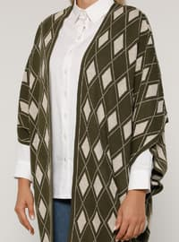Khaki - Multi - Acrylic -  - Plus Size Cardigan