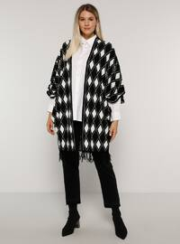 Black - Multi - Acrylic -  - Plus Size Cardigan