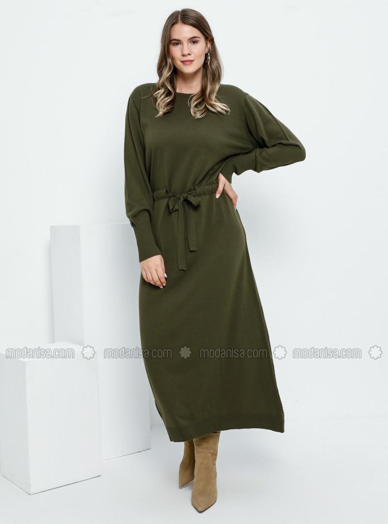 Khaki - Unlined - Crew neck - Acrylic -  - Plus Size Dress