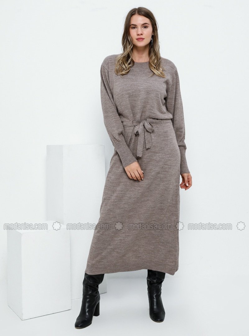 Mink - Unlined - Crew neck - Acrylic -  - Plus Size Dress