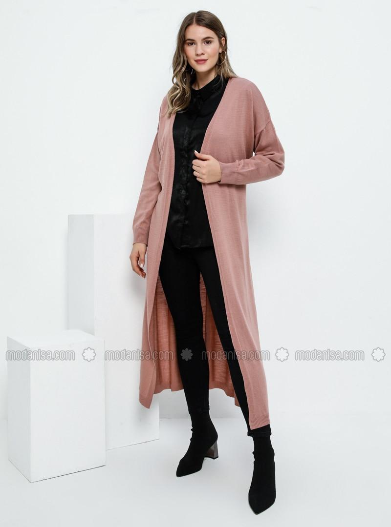 Dusty Rose - Acrylic - - Plus Size Cardigan