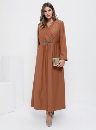 Camel - Tan - Unlined - V neck Collar - Plus Size Dress