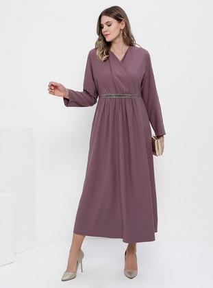 Purple - Unlined - V neck Collar - Plus Size Dress - Alia