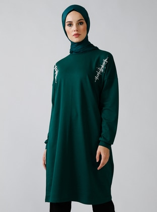 Green - Emerald - Crew neck -  - Tunic
