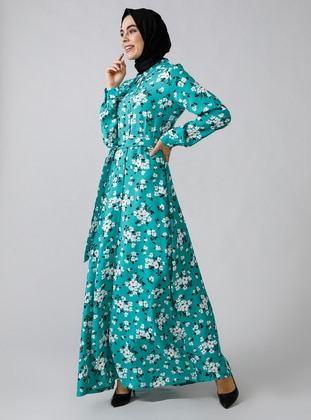Green - Floral - Point Collar - Unlined -  - Dress