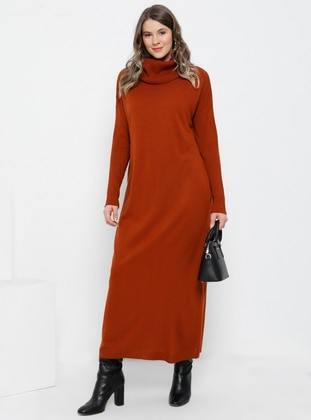 Cinnamon - Unlined - Polo neck - Acrylic -  - Plus Size Dress