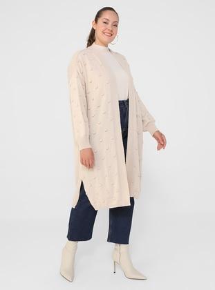 Stone - Acrylic - - Plus Size Cardigan - Alia