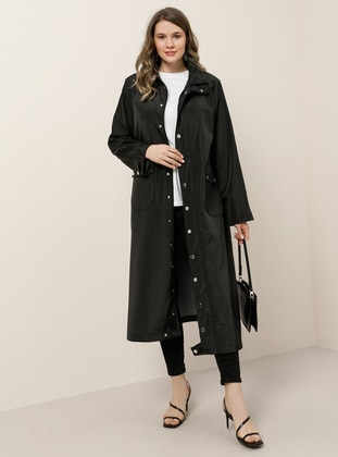 Black - Unlined - Polo neck - Waterproof - Plus Size Coat - Alia