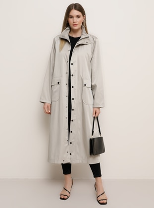 Stone - Unlined - Polo neck - Waterproof - Plus Size Coat - Alia