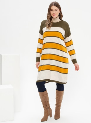 Khaki - Stripe - Crew neck - Acrylic -  - Plus Size Tunic