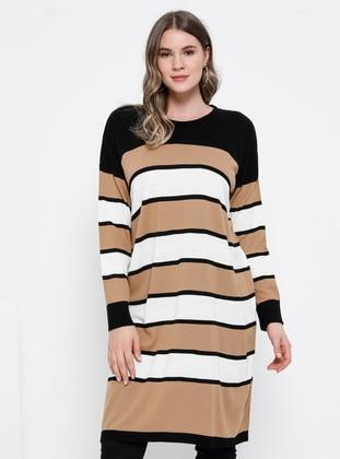 Black - Stripe - Crew neck - Acrylic -  - Plus Size Tunic