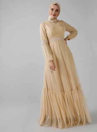 Gold - Fully Lined - Polo neck - Muslim Evening Dress
