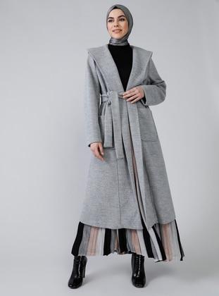Gray - Fully Lined - Rayon - Coat