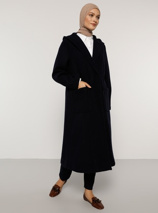 Navy Blue - Fully Lined - Rayon - Coat