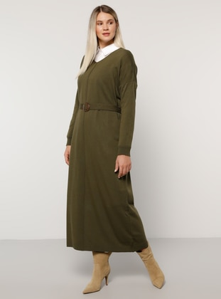Khaki - Unlined - V neck Collar - Acrylic -  - Plus Size Dress - Alia