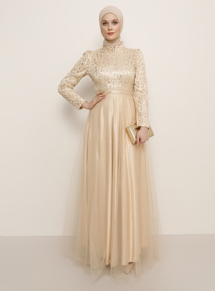 Gold - Fully Lined - Crew neck - Muslim Evening Dress - Refka