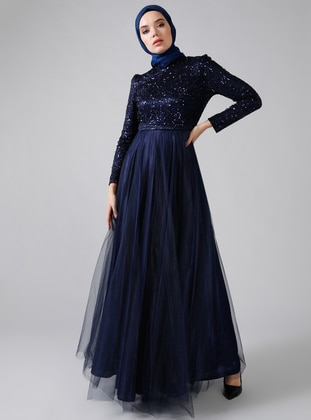 Navy Blue - Fully Lined - Crew neck - Muslim Evening Dress - Refka