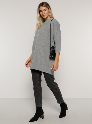 Gray - Crew neck - Acrylic -  - Plus Size Tunic