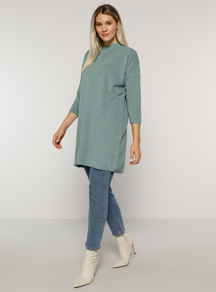 Sea-green - Crew neck - Acrylic -  - Plus Size Tunic - Alia