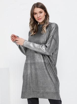 Black - Polo neck - Acrylic -  - Plus Size Tunic
