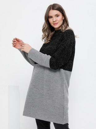 Gray - Black - Polo neck - Acrylic -  - Plus Size Jumper