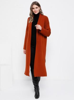 Terra Cotta - Acrylic -  - Plus Size Cardigan - Alia