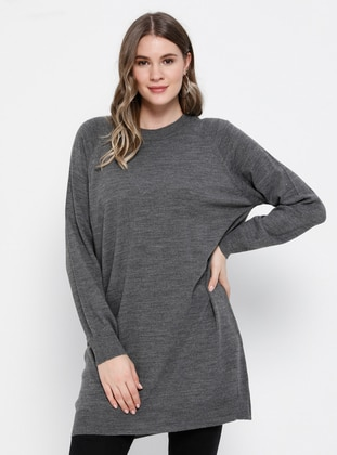 Anthracite - Crew neck - Acrylic -  - Plus Size Tunic