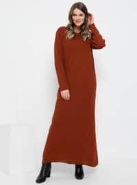 Tuğla - Astarsız kumaş - Yuvarlak yakalı - Akrilik - File - Büyük Beden elbise