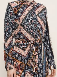 Navy Blue - Floral - Point Collar - Unlined -  - Dress
