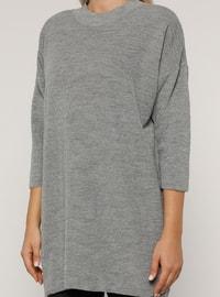 Gray - Crew neck - Acrylic - - Plus Size Tunic