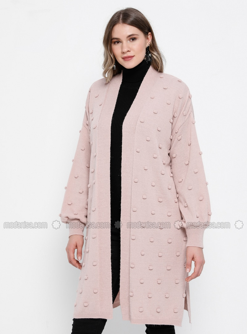 Powder - Acrylic - - Plus Size Cardigan