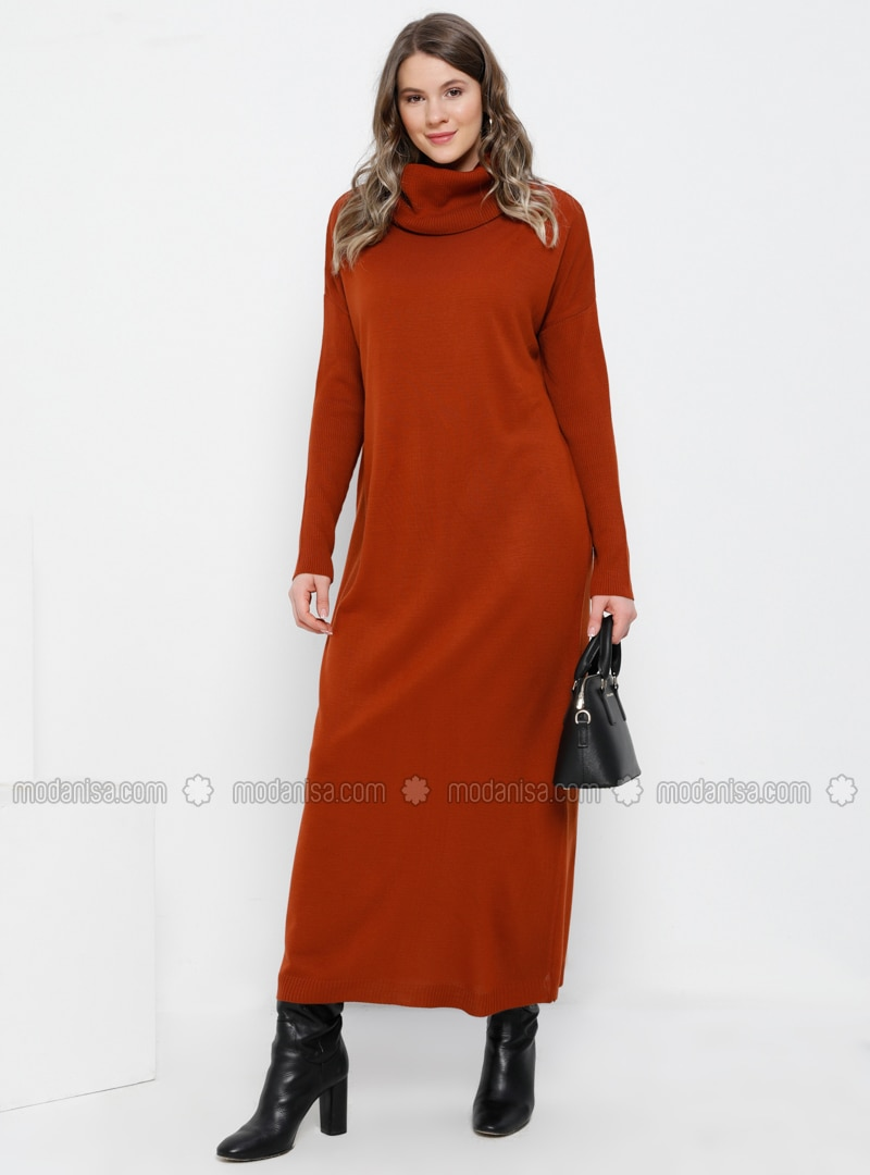 Cinnamon - Unlined - Polo neck - Acrylic - - Plus Size Dress