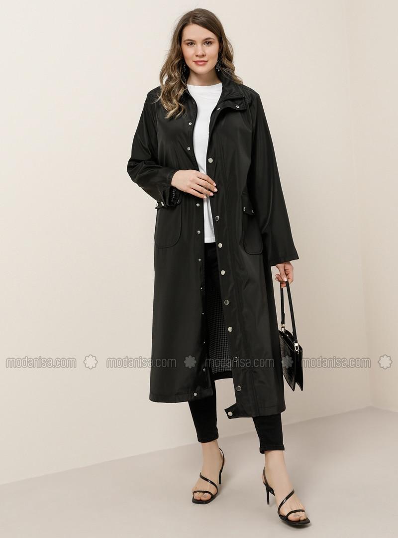 Black - Unlined - Polo neck - Waterproof - Plus Size Coat