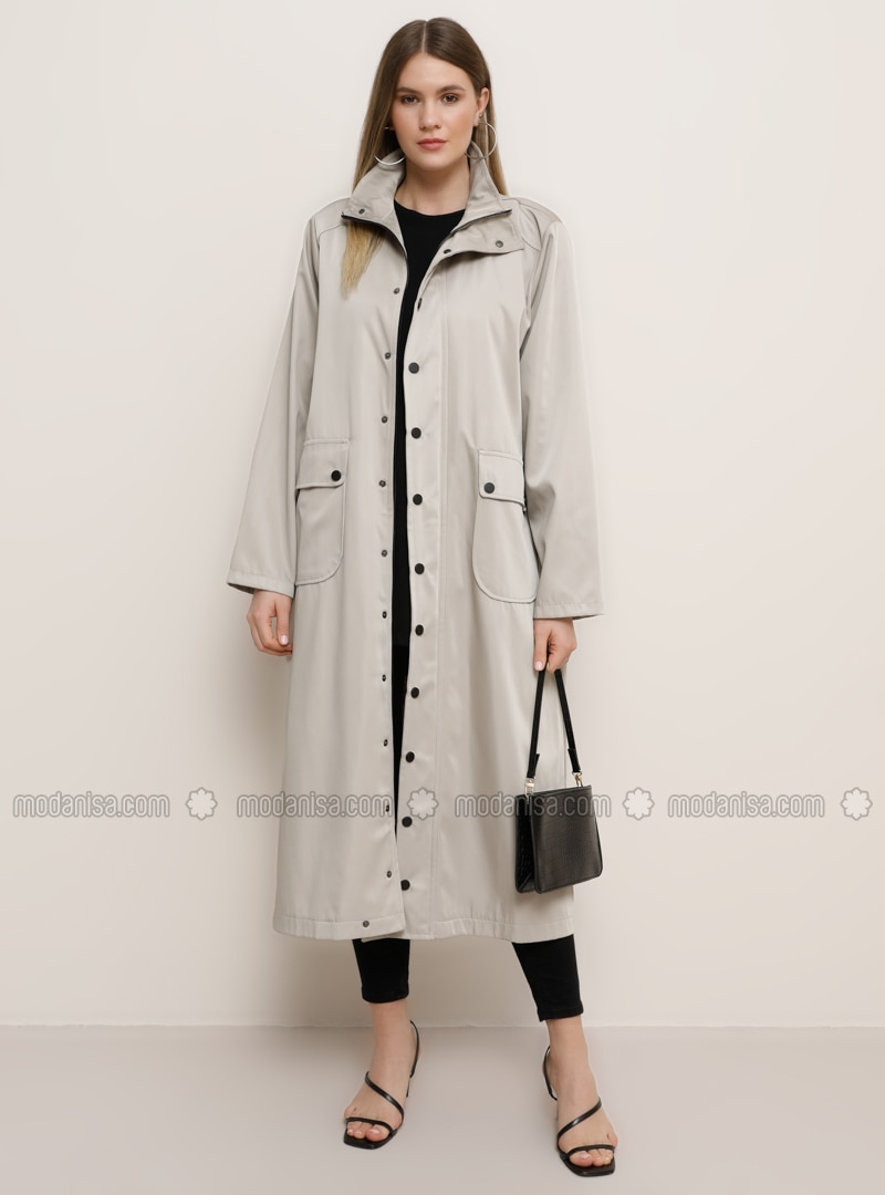 Stone - Unlined - Polo neck - Waterproof - Plus Size Coat