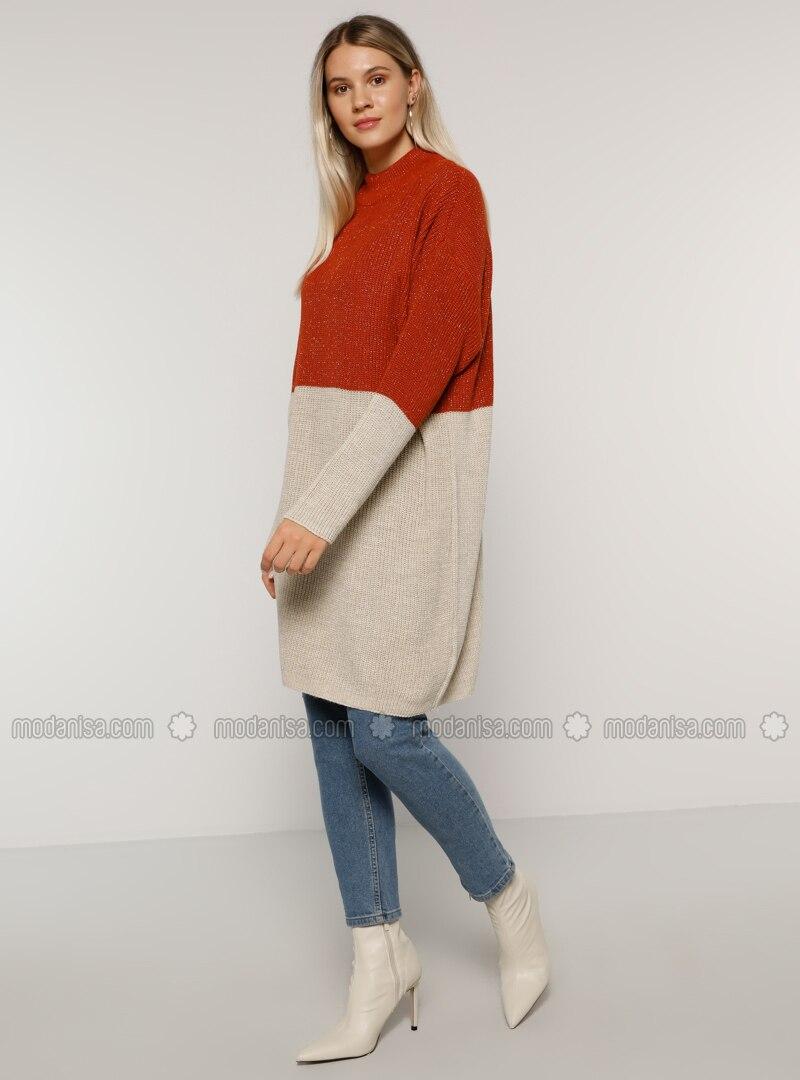 Cinnamon - Stone - Polo neck - Acrylic -  - Plus Size Jumper
