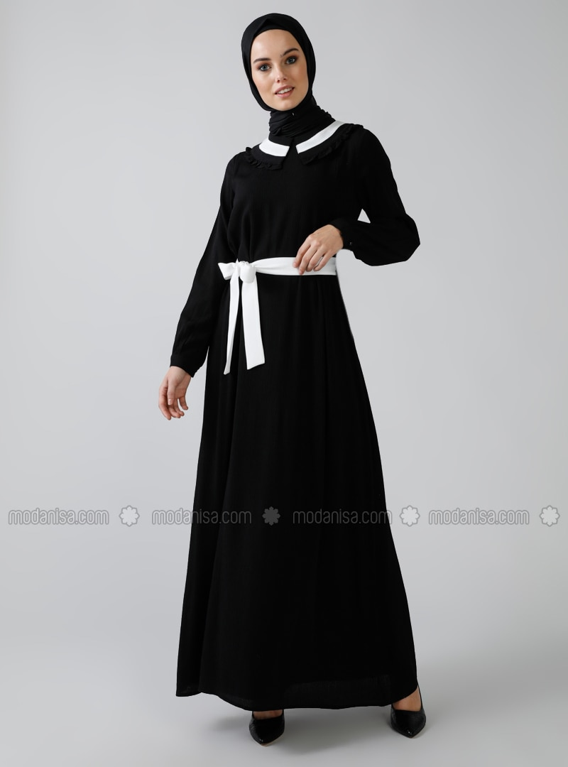 Black - Point Collar - Fully Lined - - Dress