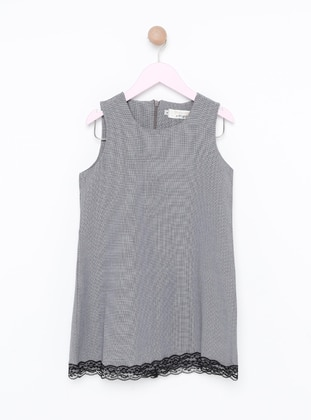 Checkered - Crew neck - Unlined - White - Black - Girls` Dress