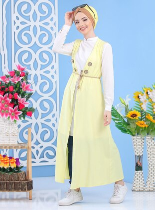 Yellow - Unlined - Shawl Collar -  - Vest