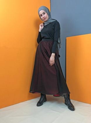 Red - Black - Unlined - Skirt