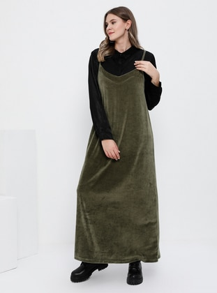 Khaki - Unlined - V neck Collar -  - Plus Size Dress
